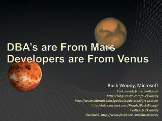 DBA's are From Mars Developers are From Venus