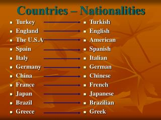 Countries  –  Nationalities
