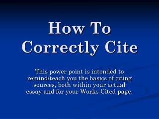 How To Correctly Cite
