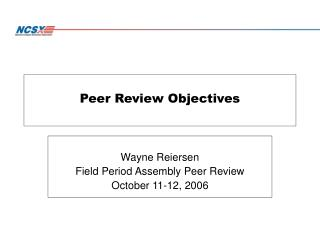 Peer Review Objectives