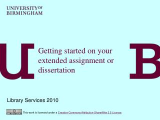 Getting started on your extended assignment or dissertation