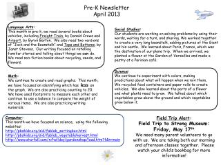 Pre-K Newsletter April 2013