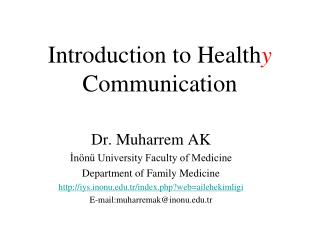 Introduction to Health y Communication
