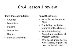 Ch.4 Lesson 1 review