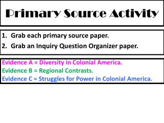 Primary Source Activity
