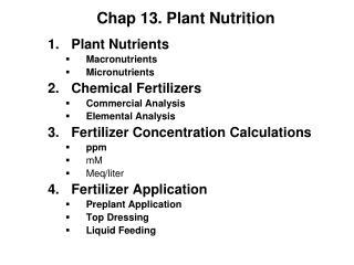 Chap 13. Plant Nutrition