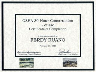 OSHA 30 Hour Construction Course Certificate of Completion
