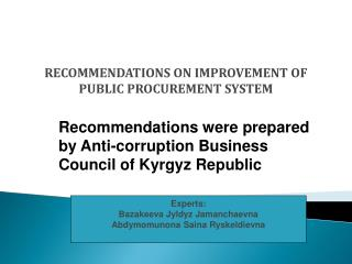 RECOMMENDATIONS ON IMPROVEMENT OF PUBLIC PROCUREMENT SYSTEM