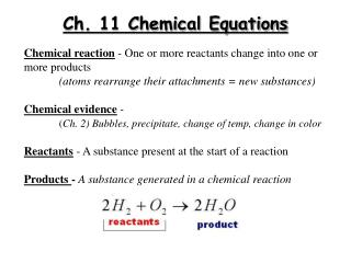 Ch. 11 Chemical Equations