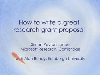 How to write a great research grant proposal