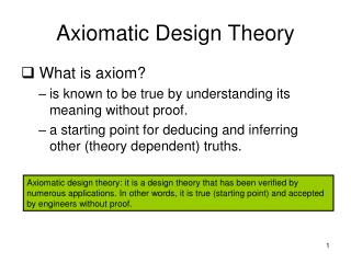 Axiomatic Design Theory