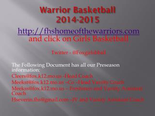 Warrior Basketball  2014-2015