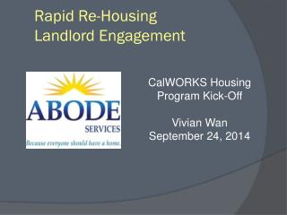 Rapid Re-Housing  Landlord Engagement