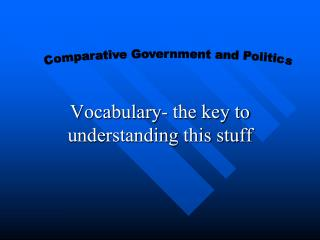 Vocabulary- the key to understanding this stuff