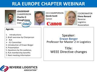 Speaker : Erwan  Berger Professor for Master 2  in Logistics Title: WEEE Directive changes