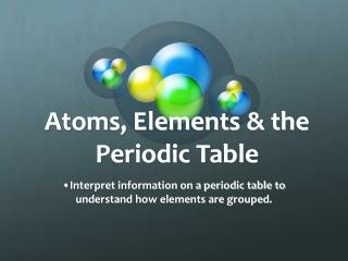 Atoms, Elements & the Periodic Table