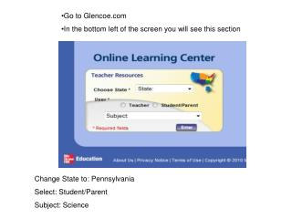 Change State to: Pennsylvania Select: Student/Parent  Subject: Science