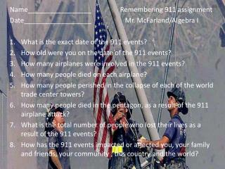 Name_________________                 Remembering 911 assignment