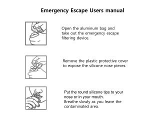 Open the aluminum bag and  take out the emergency escape  filtering device.