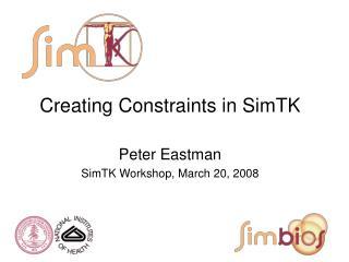 Creating Constraints in SimTK Peter Eastman SimTK Workshop, March 20, 2008