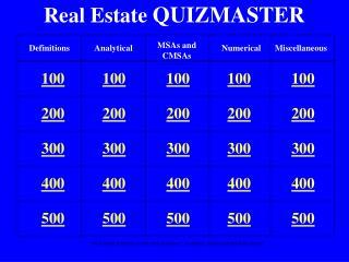 Real Estate  QUIZMASTER