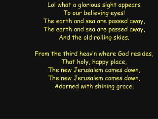 Lo! what a glorious sight appears To our believing eyes! The earth and sea are passed away,
