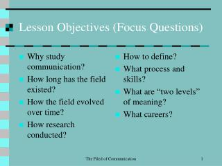 Lesson Objectives (Focus Questions)