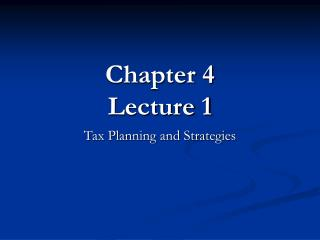 Chapter 4 Lecture 1