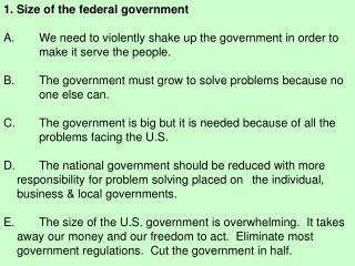 1. Size of the federal government