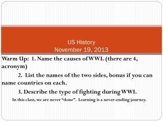 US History November 19, 2013