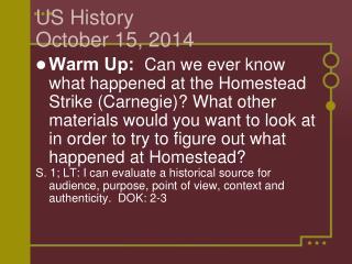 US History  October 15, 2014