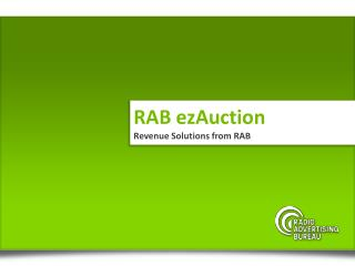 RAB  ezAuction Revenue Solutions from RAB