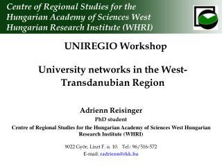 University networks in the West-Transdanubian Region