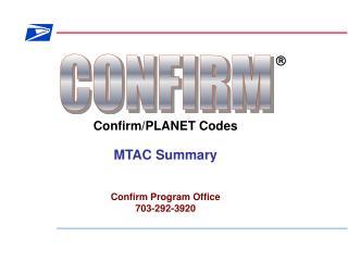 Confirm/PLANET Codes