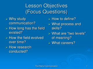 Lesson Objectives  (Focus Questions)