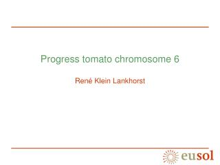 Progress tomato chromosome 6 René Klein Lankhorst