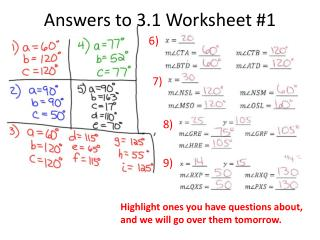 Answers to 3.1 Worksheet #1