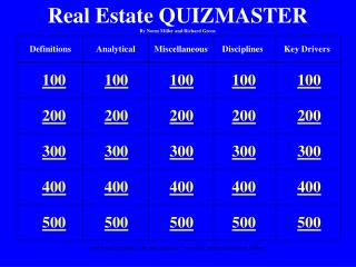 Real Estate QUIZMASTER By Norm Miller and Richard Green