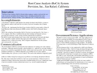 Root Cause Analysis RoCA System Prevision, Inc., San Rafael, California