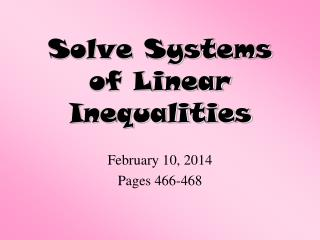 Solve Systems of Linear Inequalities