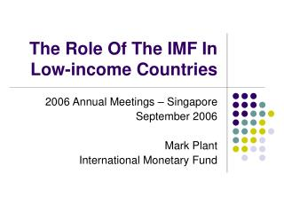 The Role Of The IMF In Low-income Countries