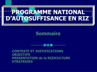 Sommaire CONTEXTE ET JUSTIFICATIONS OBJECTIFS PRESENTATION de la RIZICULTURE STRATEGIES