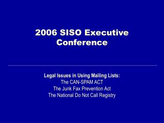 2006 SISO Executive Conference
