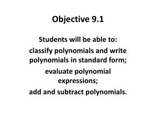 Objective 9.1
