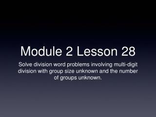 Module 2 Lesson 28