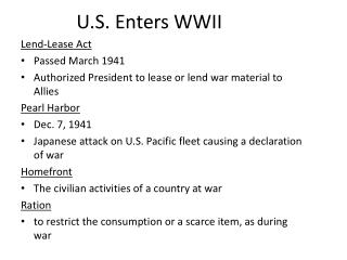 U.S. Enters WWII