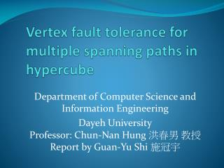 Vertex fault tolerance for multiple spanning paths in hypercube
