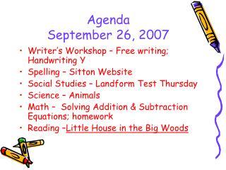 Agenda September 26, 2007