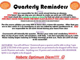 Quarterly Reminders