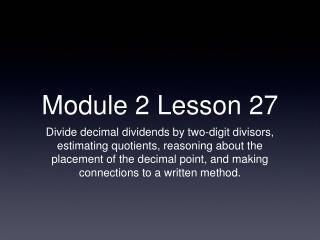 Module 2 Lesson 27